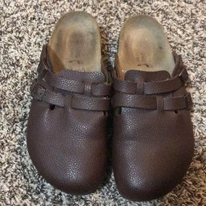 Birkenstock leather brown clogs size 8